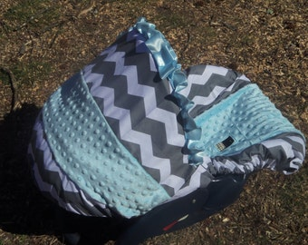 Grey Chevron Stripe blue minky baby car seat cover infant seat cover slip cover Graco fit or evenflo universal cover baby trend