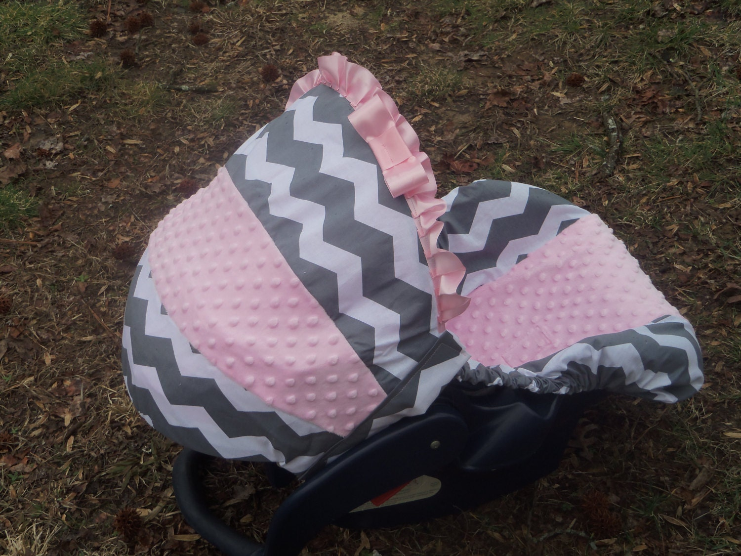Pink Grey Chevron Stripe Light Pink Minky Baby Car Seat Cover