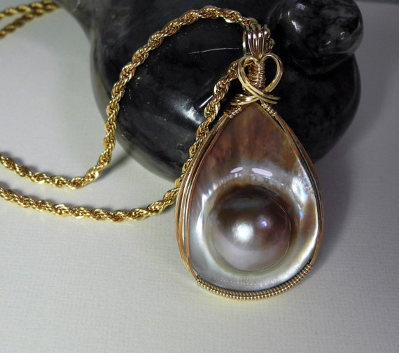 Mabe Pearl Pendant Iridescent Wire Wrapped in 14 Karat Gold Fill