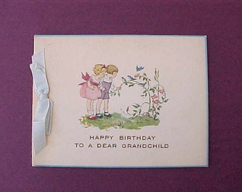 Adorable 1920's Birthday Card with Little Children and Bluebirds