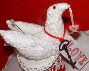 WHITE DOVE Love White Crochet Pincushion Metal Key Love Tag & White Tassel Fringe Bird Pincushion
