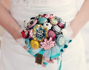 Shabby Chic Vintage Unique Brooch and Drawer Pull Bouquet in Teal, Aqua, Pinks, Golds and Reds