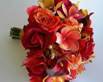 The Mia Bridal Bouquet in Red, Mango and Gold made with Roses, Calla Lilies and Orchids with Real Touch and Silk Flowers-  Style #201