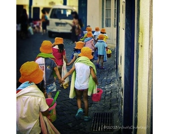 DAY CAMP. Fine Art Photograph. Ericeira, Portugal. Orange and Blue.