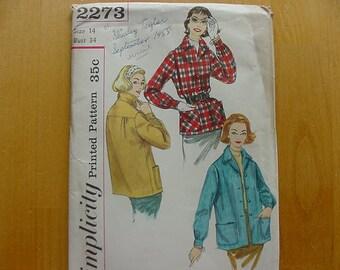 Vintage 1950s Simplicity Pattern 2273 Misses Casual Jacket, Size 14 Bust 34, UNCUT