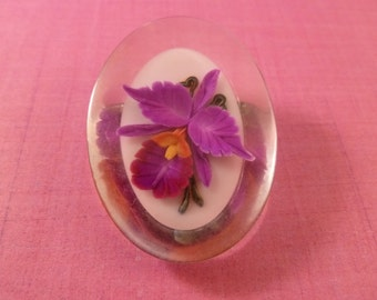 Pretty Pink and Yellow Flower Brooch.