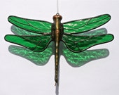 Stained Glass DRAGONFLY Suncatcher, Bright Emerald Green Wings, Textured, USA Handmade - stainedglasswhimsy