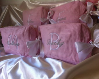 Personalized wedding party waffle weave cosmetic bags