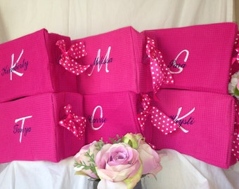 6 Personalized wedding party waffle weave cosmetic bags