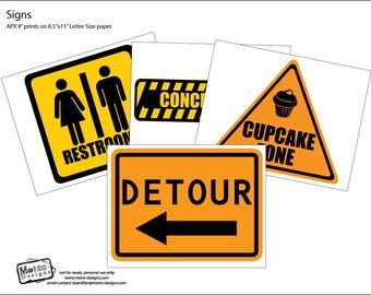 Construction Party Signs, Construction Party Sign Kit, Party Decorations, Construction Birthday Party, Construction Party, Party Signs