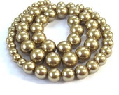 Glass Pearls Gold Round Faux Pearls Graduated Sizes 10mm 8mm 6mm - 58 Beads