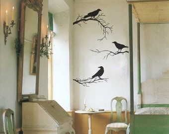 Vinyl Wall Decal, Branches, Crow Decor, Black Wall Decals, 3 Branches, 3 Crows, Home Decor, Black Crows Birds, Halloween Decor - ID703 [p]