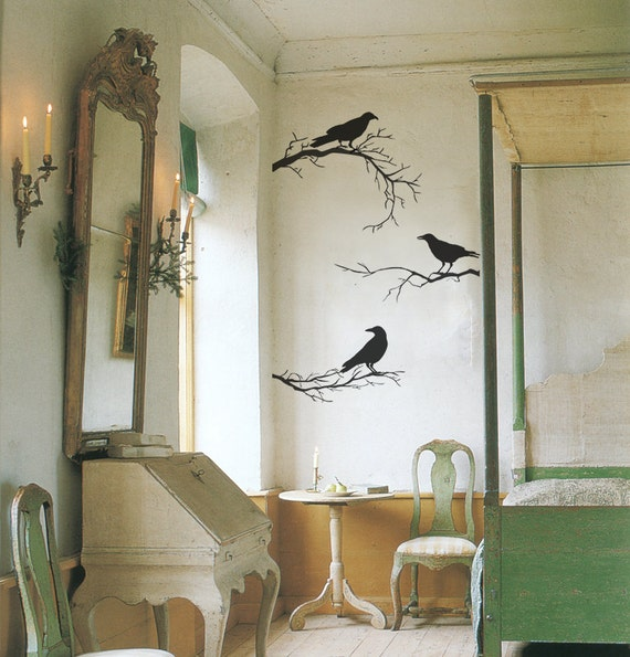 Crows On branches Vinyl Decal Perfect For Halloween Decoration - ID703