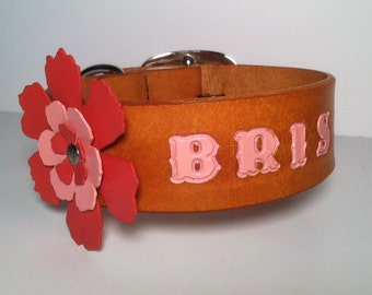 """Dog Collar, Leather,  1 3/4"""" Wide, Custom Stamped - Embossed,Handmade Dog Collar Large Leather Flower and Riveted Brass Information Tag"""