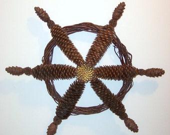 Pine Cone Ship Steering Wheel Wreath