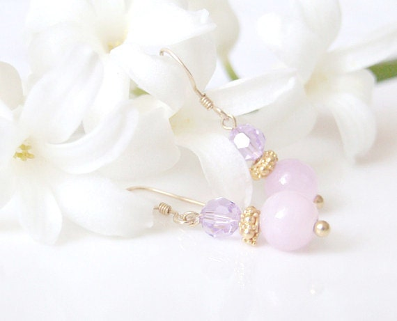 Lilly Earrings. Delicate Radiant Orchid Jade Earrings. Dangle Lilac Earrings. Feminine Chic, Mothers Day Gift