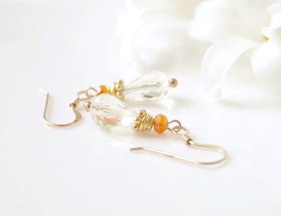 SALE Carnelian Lemon Quartz  Earrings. Gold Filled Earrings. Dangle Earrings. Delicate Dainty. Mothers Day Gift