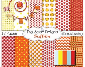 Saffron Scrapbook Paper Yellow, Red, & Orange for Digital Scrapbooking, Crafts, Backgrounds, Instant Download