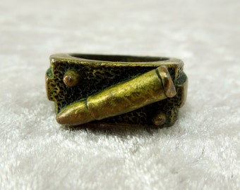 Vintage Cast Brass Men's Ring with Rifle Bullet  for Gun