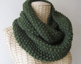 Hand Knit Chunky Green Cowl - Infinity Neck Warmer in Spruce Green - Spring Accessories - Womens Fashion -