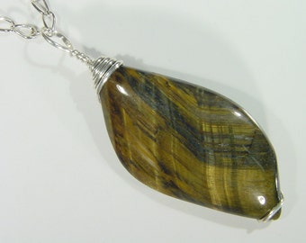 Sterling Silver Wire Wrapped  Tiger Eye pendant  With Free SP Chain 4814D