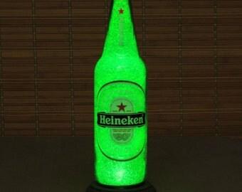 "Big 24oz Heineken Beer Bottle Lamp/Bar Light /  VIDEO DEMO-Intense Sparkle and Glow / ""Diamond Like"" Glass Crystals on Inside Surface"