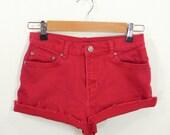 Little Ruby Red Denim High Waist Cut Off Shorts Size 2