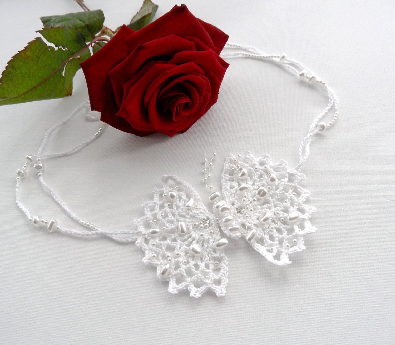 Choker Necklace Etsy: Crochet White Necklace Beaded Necklace Choker Butterfly