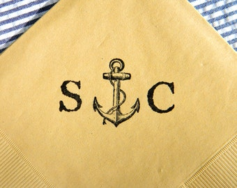 Vintage Anchor Personalized Nautical Wedding Napkins in Light Burlap Paper Wedding Cocktail Napkins with Couples Initials- Set of 50