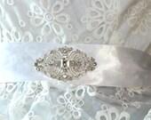 Somthing Blue Bridal Sash, Crystal Sash, Ribbon Sash, Rhinestone Belt, Wedding Sash, Bridal Belt, Bridesmaid Belt
