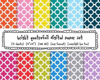 bright quatrefoil digital paper modern trellis patterns, classic photography backgrounds, instant download 498