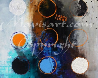 """Title """"Resemblance"""" Circles Abstract 24""""x 36""""  by Mavis"""