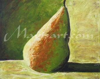 "Title ""La pera"" 24in x 24in green pear  Original painting by Mavis"
