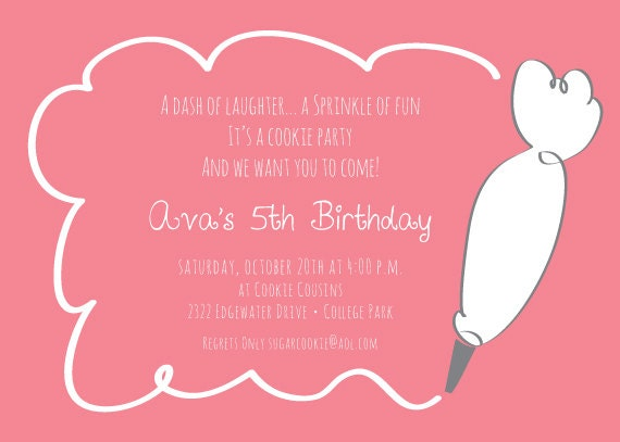 Items similar to Cookie Decorating Birthday Party Girls Boys – Cookie Decorating Party Invitations