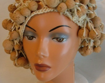 SALE!!  Price reduced again!!!!  Vintage Cork Knitted Slouchy Hat