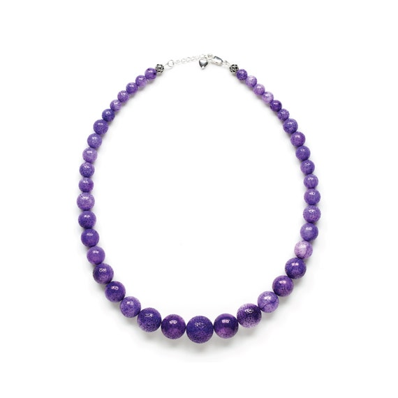 UltraViolet Purple Sponge Coral Necklace by Kluster. Grape Purple Bridesmaid Necklace. Chunky Statement Necklace. 100% Sterling Silver.