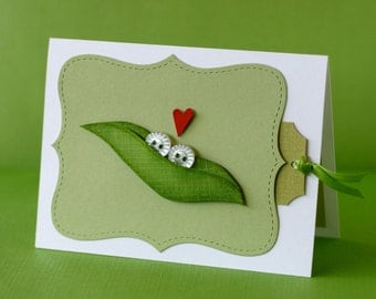 Adorable Custom Two Peas in a Pod Greeting Card