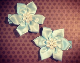 Set of 2...Light Blue Silk Flower Hairclips with Pearl Center...Girls Hairbows...Baby Hairbows...Hairclips