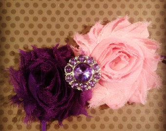 Pink and Purple Shabby Chic Flower Headband...Adult Headbands...Baby/Infant Headbands...Hairbows