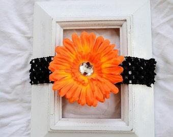 Black Crochet Elastic Headband with Removable Orange Daisy Flower Hair Clip Baby Shower Gift Photos Birthday Accessory Toddler Christmas