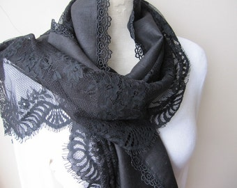 Black sheer lace-linen scarf-church scarf-evening gown shawl, lace fashion-woman fashion accessory gifts for her-women's scarves-scarf woman
