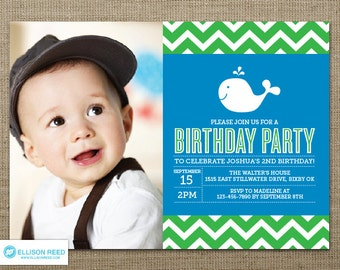 Whale Birthday Invitation - Whale Printable - Nautical invitation - Chevron invitation - Boy Birthday - First Birthday invitation