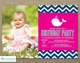Whale Birthday Invitation - Whale Printable - Nautical invitation - Chevron invitation - Girl Birthday - First Birthday invitation