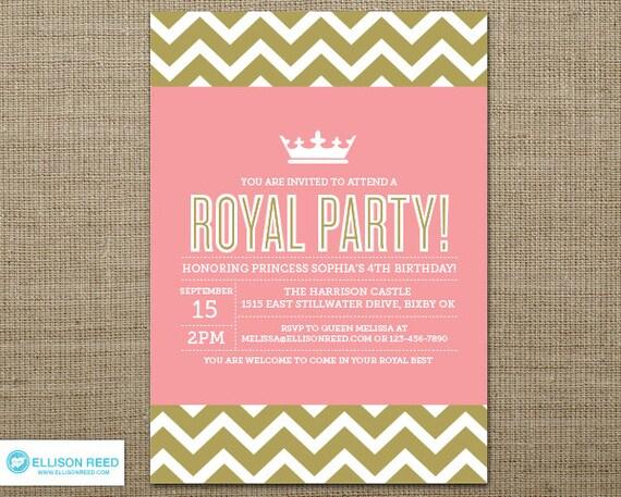 Princess Invitation - Crown - Pink Birthday - Chevron - Princess Printable - Girl Birthday - Printable Party - Pink and Gold invitation