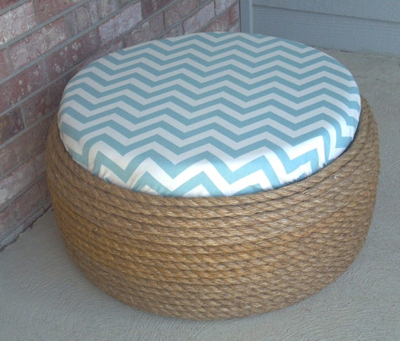 Items similar to Shabby Chic Tire Ottoman or Coffee Table on Etsy