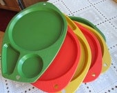 Vintage set of six plastic picnic, tv sectioned, dinner plates. SALE now 10.00