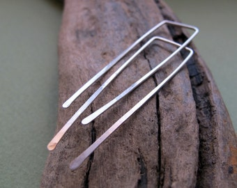 Long Top Square Earrings. Elegant Sterling Simple Simple Earrings. Threader Earrings. Delicate Jewelry. Geometric Earrings. Artisan Earrngs