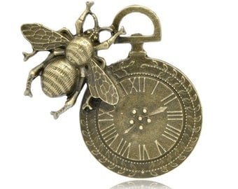 1pc Antique Bronze Bee & Clock Pendant - 42x42mm - Ships from the USA, Necklace Pendant, DIY, Charm, Bee Pendant, Charm, Bronze Charm - A15