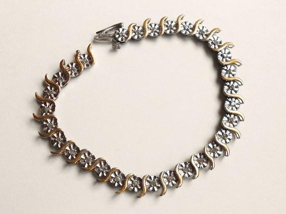 Art deco diamond bracelet- sterling two tone tennis bracelet bridal jewelry