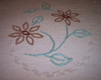 Beautiful Vintage Chenille Bedspread in Brown and Aqua
